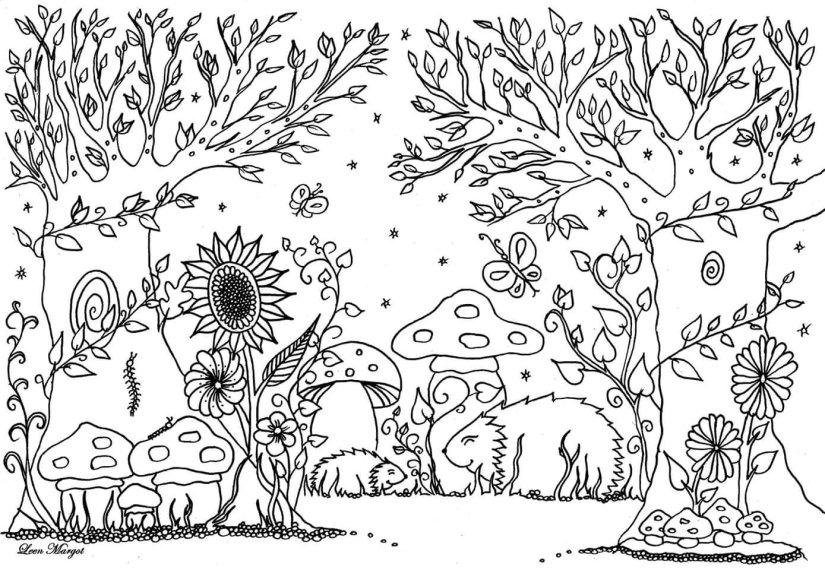 Coloriage Adulte Vegetation.Mes Dessins A Colorier A Imprimer Cartable Et Pinceaux
